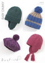 Hayfield Baby Chunky - 4404 Helmets, Hat and Beret Knitting Pattern